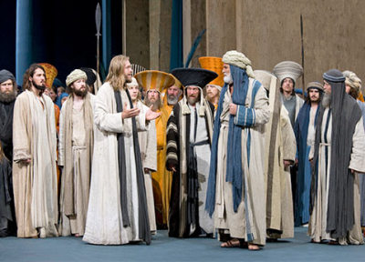 Men on stage at the Oberammergau Passion play