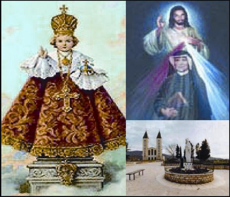 Three photos Infant of Prague Jesus with Saint Faustina