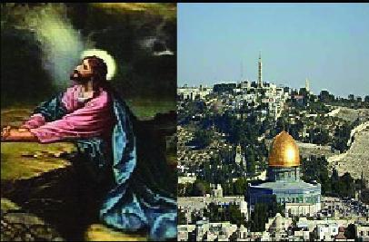 Picture of Jesus praying and the Dome of the rock in Israel